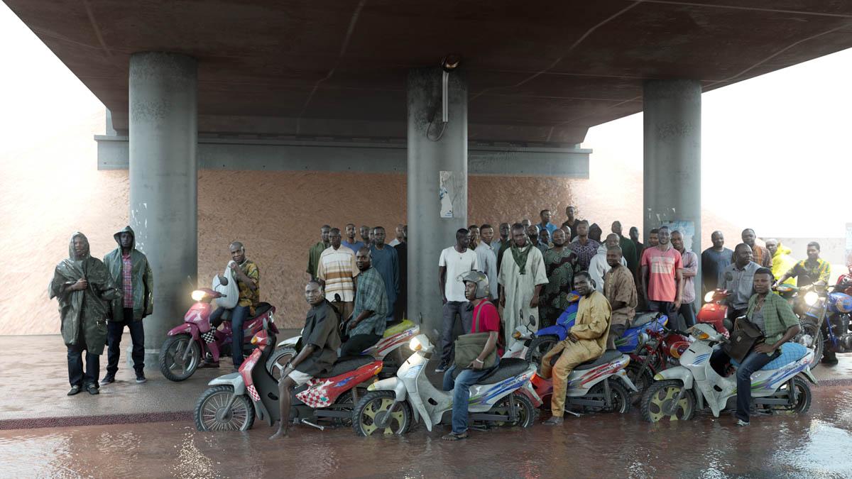 David Claerbout (Βέλγιο, γ. 1969)<br/><em>Εργάτες πετρελαίου (από την εταιρεία Shell της Νιγηρίας) επιστρέφοντας στο σπίτι από τη δουλειά, πιασμένοι σε καταρρακτώδη βροχή</em>, 2013 <br/>Ευγενική παραχώρηση του καλλιτέχνη και Sean Kelly, Νέα Υόρκη, Esther Schipper, Βερολίνο, Rüdiger Schöttle, Μόναχο, Pedro Cera, Λισαβόνα, Micheline Szwajcer, Αμβέρσα, Annet Gelink, Άμστερνταμ
